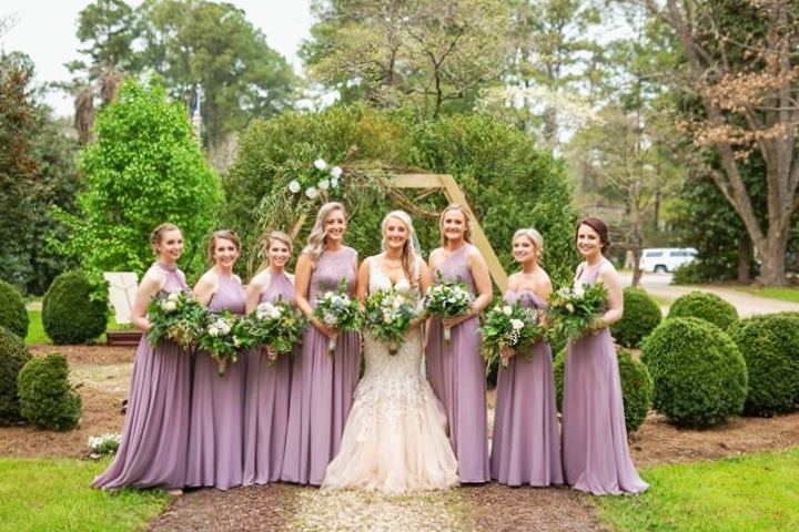 Wedding photoshoot at Bellamy Manor and Gardens. Bridesmaids in lilac.